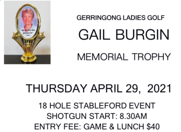 Gail Burgin Memorial Trophy 2021 at Gerringong
